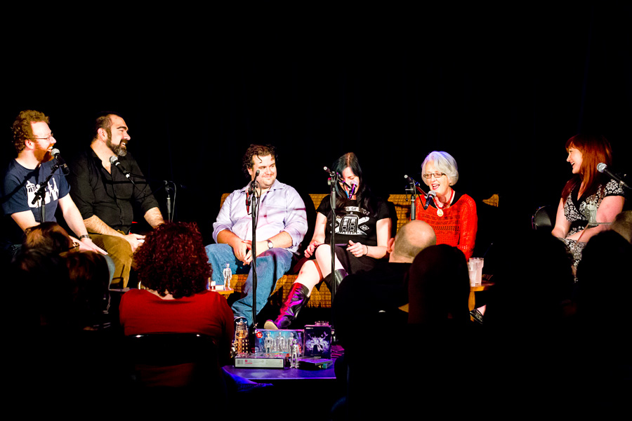 Hosts and guests on stage for the recording of Splendid Chaps: One/Authority.